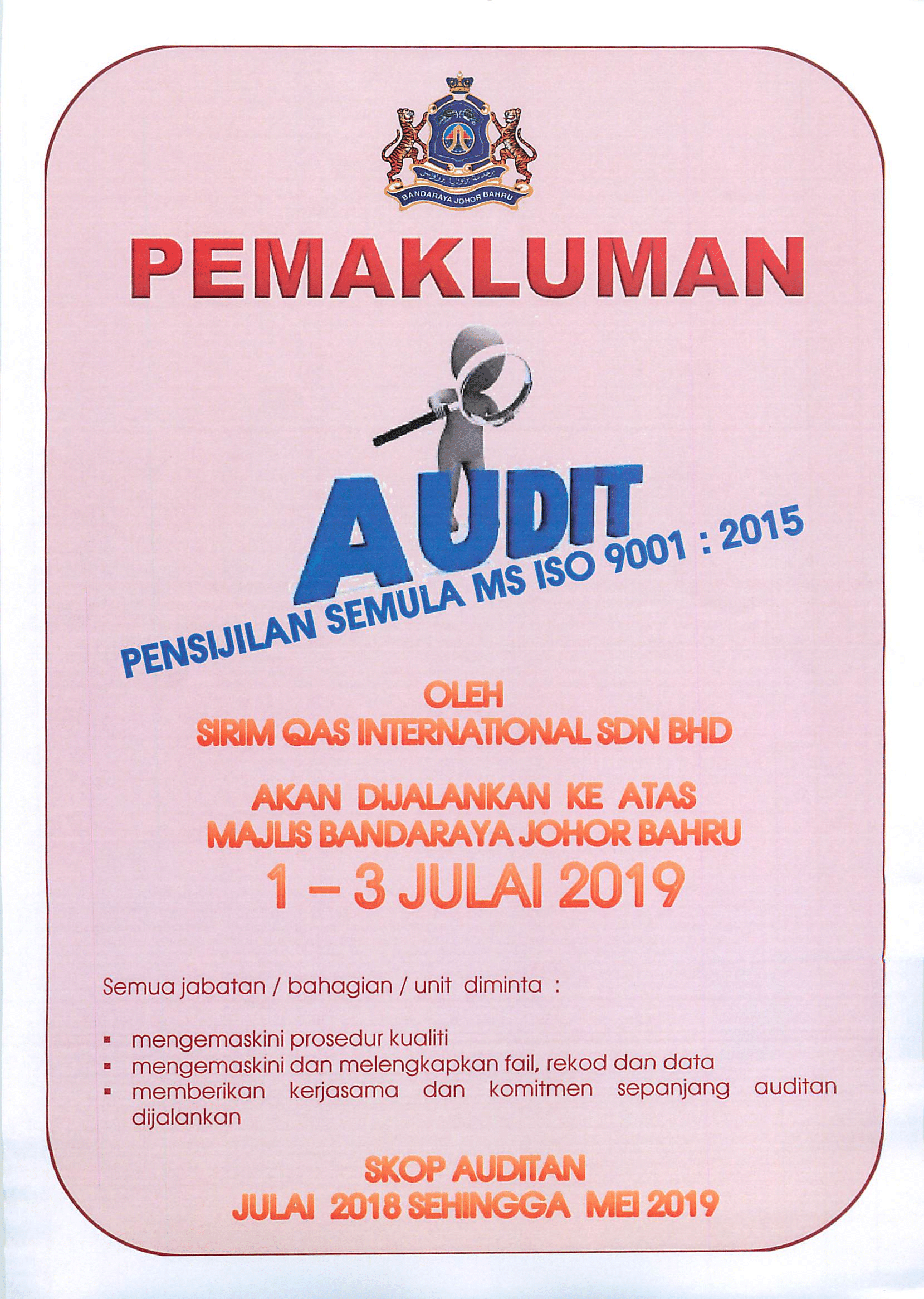 Audit MS ISO 9001 : 2015